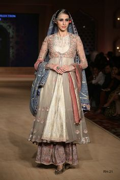 Embroidered old rose and  grey anarkali and printed izhar set