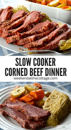 There's only one way of cooking corned beef to ensure it's juicy and tender – slowly on a low heat. Slow cookers were practically made for corned beef. The combination of broth and apple juice gives this dish a wonderful flavour. Cooking Corned Beef, Slow Cooker Corned Beef, Corned Beef Recipes, Slow Cooker Recipes, Meat Recipes, Crockpot Recipes, Stove Top Baked Beans Recipe, Corn Beef And Cabbage, Easy Dinner Recipes