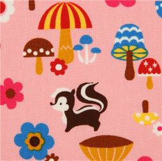 matt pink forest animal laminate fabric by Cosmo from Japan 1