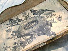 taca decoupage ptaki - taca vintage przecierana i postarzana Eco Manufaktura Decoupage, Vintage World Maps