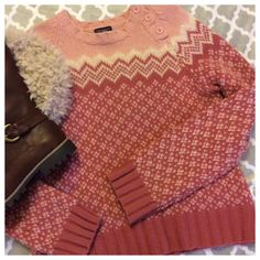 """HP AE lambs wool sweater Super warm lambs wool blend sweater by AE. Pink knit design with button embellishments at front neckline. Tagged as size XL, Measurements when laying flat: 20"""" chest and 23"""" length. American Eagle Outfitters Sweaters Crew & Scoop Necks"""