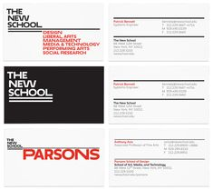 New Logo and Identity for The New School by Pentagram. Very unique. Designed by Paul Scher with typeface designed by Peter Bil'ak. Use of different width of type.