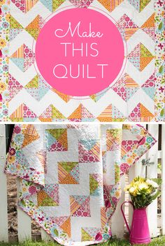 "This cute quilt will get almost as much use as their favorite toy! Your Riley Blake Tori's Toy Box Quilt Kit includes a pattern and fabric from the Summer Song 2 collection. Featuring an easy, HST-filled design and vivid color palette, this 46"" x 46"" quilt will make a darling addition to a nursery or playroom."