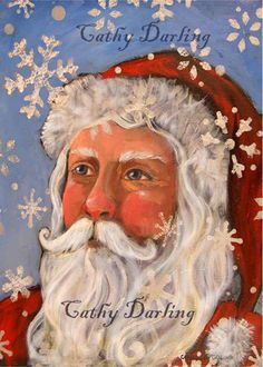 Cyber Monday Sale 20% Off Print of Original Painting Christmas Santa Claus 5 x7 by Catherine Darling Hostetter. $12.00, via Etsy.