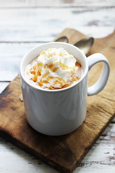 Creamy, rich salted caramel hot chocolate made right in the crock pot!