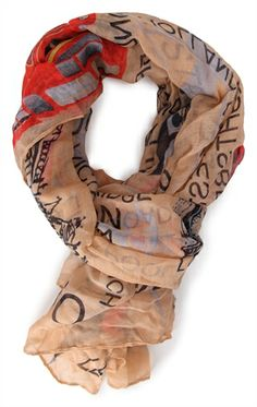 Deb Shops Woven Scarf with #London Print