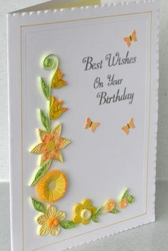 Quilled birthday card with quilling flowers