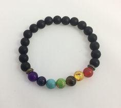 7 Yoga Chahra Reiki Buddha prayer healing balance bracelet black lava natural  #Unbranded #Beaded