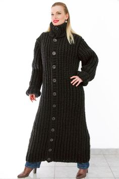 BLACK Hand Knitted Mohair Wool Sweater Cardigan Thick Chunky Coat by SUPERTANYA #SuperTanya #BasicCoat