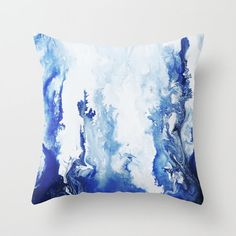 Blue Watercolor Pillow , Art Throw Pillow, Accent Pillow, Watercolor Pillow, with Optional Insert Diy Throw Pillows, Modern Throw Pillows, Gold Pillows, Floor Pillows, Accent Pillows, Blue Decorative Pillows, Colorful Throw Pillows, Watercolor Fabric, Fabric Painting