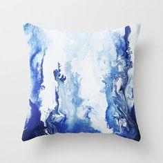 Blue Watercolor Pillow , Art Throw Pillow, Accent Pillow, Watercolor Pillow, with Optional Insert Diy Throw Pillows, Blue Pillows, Accent Pillows, Floor Pillows, Blue Decorative Pillows, Colorful Throw Pillows, Watercolor Fabric, Fabric Painting, Home Design