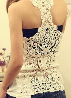 Lace tank top, with something under. Maybe strapless?