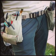 while out sketching nature, a tool belt for art supplies