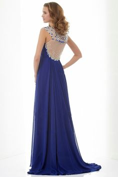 Enchanted A Line/Princess Straps Sleeveless Beaded Sweep/Brush Train Chiffon Dress Dark Royal Blue - $119.99 - http://www.elleprom.com/Enchanted-A-Line-Princess-Straps-Sleeveless-Beaded-Sweep-Brush-Train-Chiffon-Dress-Dark-Royal-Blue