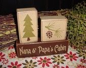 Cabin Cottage Lake Nana Papa's PERSONALIZED Family Last Name Pine Tree Fish Duck Wood Sign Shelf Blocks Primitive Country Rustic