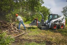 The Bobcat Chipper attachment has a powerful disk chipping action to continuously mulch materials such as trees, limbs, branches, and saplings. Bobcat Company, Fire Wood, Outdoor Power Equipment, Tools, Instruments, Garden Tools
