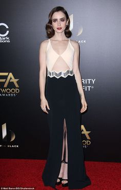 Seriously glam: Lily Collins was certain to turn plenty of heads as she arrived in an outfit flashed some skin