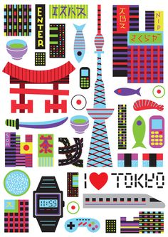 Vibrant And Colorful Illustrations Of Famous City Icons And Landmarks - DesignTAXI.com