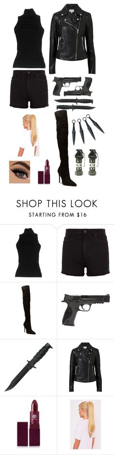 """""""Outfit #7 Assassin_3"""" by dementorka ❤ liked on Polyvore featuring Antonio Marras, Paige Denim, Smith & Wesson, Witchery, Lipstick Queen and polyvorefashion"""