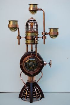 Candlestick with a clock-work in style of Steampunk (copper, composition-metal)  подсвечник с часовым механизмом в стиле Steampunk (медь,латунь)