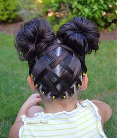 Criss Cross Double Buns - Little Girl Hairstyles - Easy and Cute Little Girl Hairstyles - Double Bun Pigtails Ponytails Braided Half-Updo Classic Bun Toddler Hairstyles. - October 26 2019 at Cute Little Girl Hairstyles, Baby Girl Hairstyles, Kids Braided Hairstyles, Box Braids Hairstyles, Cute Hairstyles, Toddler Hairstyles, Two Buns Hairstyle, Teenage Hairstyles, Hairstyles Videos