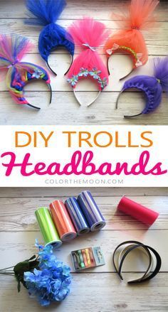These Trolls hair headbands are SO CUTE and so easy to make! What a great idea for a Trolls birthday party!