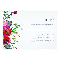 #wedding #responsecards - #Vibrant Floral   Watercolor Wedding RSVP Response Card