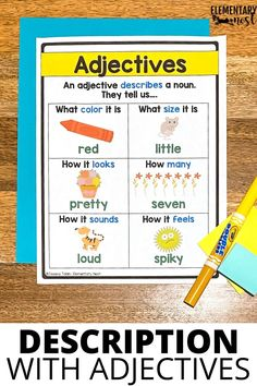 Here is a list of adjective activities for elementary students. Find ideas for adjective anchor charts, engaging games and activities, worksheets, and more to help teach first grade, 2nd grade, 3rd grade, and 4th grade students all about adjectives. Learn how to use adjectives to describe people, places, and things. Adjectives To Describe People, List Of Adjectives, Adjectives Activities, Language Activities, Teaching Grammar, Help Teaching, First Grade Activities, Learning Activities, Adjective Anchor Chart