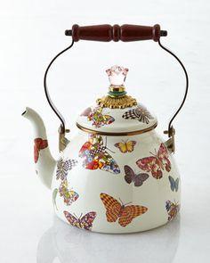 Butterfly Garden White 2-Quart Tea Kettle by MacKenzie-Childs at Neiman Marcus.