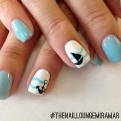 Blue anchor sailboat gel nail art
