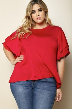 Plus Size Flutter Sleeve Top Red