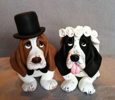 omg. basset hound wedding cake topper. front. stacey_lien32