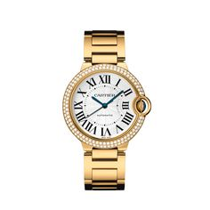 Ballon Bleu de Cartier watch, 36 mm Automatic, yellow gold, diamonds, sapphire
