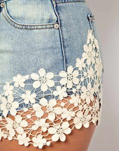 ASOS CURVE - #Short en jean avec dentelle crochetée #crochet