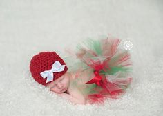 Christmas Newborn baby infant girl tutu crochet set hat outfit photography prop bow red green white
