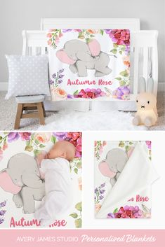Our personalized floral elephant minky blankets for babies and toddlers are buttery-soft and come personalized with your little one's name. This adorable personalized blanket will become a keepsake that will be treasured for years to come.  Our personalized minky blankets come in 3 sizes- perfect for babies and toddlers Baby Blanket Size, Toddler Blanket, Minky Baby Blanket, Newborn Baby Gifts, Toddler Gifts, Baby Girl Gifts, Baby Girls, Elephant Themed Nursery, Baby Girl Nursery Decor