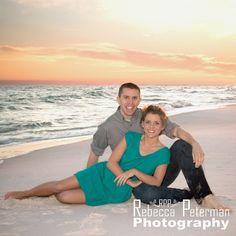 Couple on beach at sunset.  Perdido Key, Florida.  Rebecca Peterman Photography