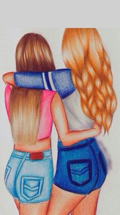Best Drawings, Sketching And Drawings, Drawings Art Diy, Drawing Bff Art, Hair Drawings Ideas, Colorful Hair Drawing, Artsy Drawings Ideas, People Drawings ...