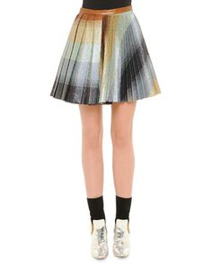 Striped Mixed-Pleat Lurex Skirt by Marco de Vincenzo at Bergdorf Goodman. $1365