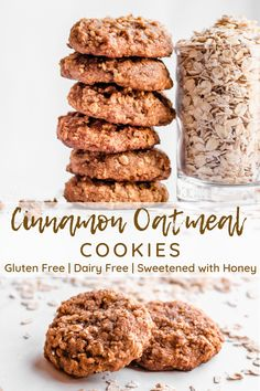Easy Cinnamon Oatmeal Cookies (gluten free, dairy free, sweetened with honey) - Simply Jillicious - Easy oatmeal cookies are a hearty and delicious dessert that are healthy enough to eat for breakfas - Healthy Oatmeal Cookies, Oatmeal Cookie Recipes, Healthy Cookie Recipes, Healthy Sweets, Healthy Baking, Oatmeal Dessert, Healthy Nutrition, Desserts With Oatmeal, Oatmeal Cookies Gluten Free
