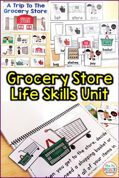 Teach students functional life skills with this grocery store unit. Students will learn the vocabulary, where items are located in the store, where the items go once they take them home, etc. This life skills unit is perfect for special education classrooms, students with disabilities and autism, and daily living instruction.