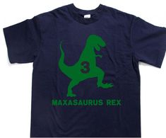 T-REX Dinosaur Birthday shirt with age and Personalized with child's name Kid's t-shirt tee shirt t shirt, many other color choices! by Ilove2sparkle on Etsy https://www.etsy.com/listing/463230354/t-rex-dinosaur-birthday-shirt-with-age