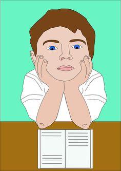 Cartoon, Reading, Boy, Student, Book, Homework, Face