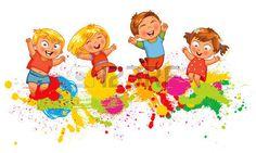 chicos y chicas: Los niños que saltan en el chapoteo del color de fondo. Bandera. personaje de dibujos animados divertido. Ilustración del vector.…