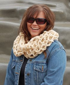 soft cream infinity scarf, ivory white crochet cowl, winter scarves