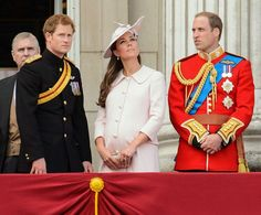Britain's Prince Harry, left, Kate, Duchess of Cambridge, center, and Prince William, on the balcony of Buckingham Palace, during the Trooping The Colour parade, in London, Saturday, June 15, 2013. Queen Elizabeth II celebrated her birthday with traditional pomp and circumstance _ but without her husband by her side. Prince Philip remains in the hospital, recovering from exploratory abdominal surgery. The queen invited her cousin, the Duke of Kent, to accompany her in a vintage carriage.