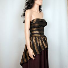50's Formal gown Bronze/black striped strapless by poetryforjane, $38.00