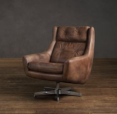 RH's Motorcity Leather Swivel Chair:Midcentury America's love affair with the automobile inspired our leather-swathed, high-backed chair. Thickly padded, button-tufted cushions cradle with comfort, and a brushed aluminum base lets it swivel 360 degrees. Leather Recliner Chair, Swivel Armchair, Leather Sofa, Brown Leather, Recliner Chairs, Recliners, Distressed Leather, My Living Room, Living Room Furniture