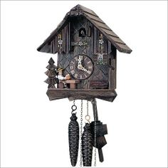 Made in the Black Forest region of Germany this cuckoo clock unites two of Germany's cultural traditions: drinking beer and making cuckoo clocks Intricate details hand-carved and hand-painted and made from real Black Forest linden wood. 9 Inch, 1-Day movement. $338.40