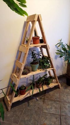 DIY pallet ladder shelf planters.